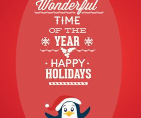 Christmas penguin background 2 vectors material