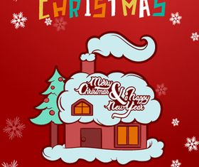 Xmas house background 1 vector