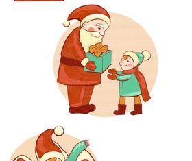 kids and santa vectors graphics