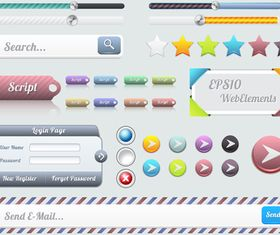 Web interface buttons 3 design vector
