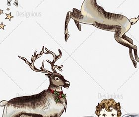 christmas reindeer and angel vector