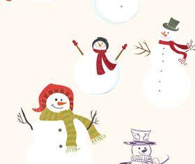 Christmas snowmen vectors