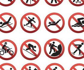 Prohibiting sports symbols vector