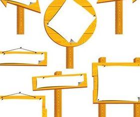Wooden Information Boards vector set