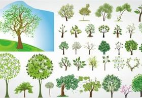 Cartoon trees design elements vectors material
