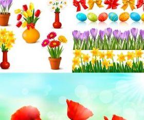 Easter egg flower set vector