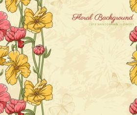 Retro flower set design vector