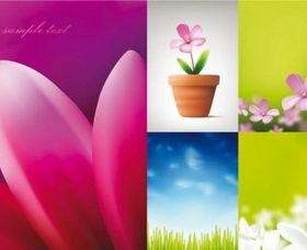 Beautiful flowers and blue sky vector