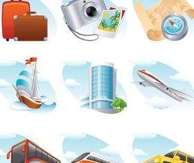 Travel Vivid Symbols vector graphics