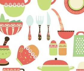 Stylish Kitchen Items Vector set