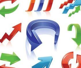 3D Vivid Color Arrows vector graphic