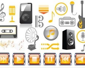 Music Vivid Icons set vector
