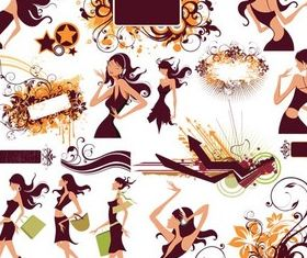 Elements with girls creative vector