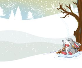 Rabbit with winter background set vector