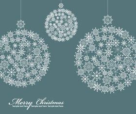 Snowflake pattern christmas balls vector