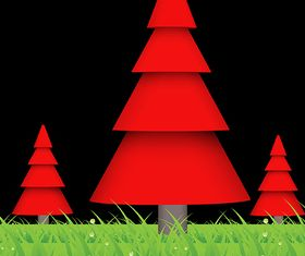 Red Christmas Trees vector graphics