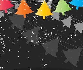 Hanging Christmas Tree Background set vector