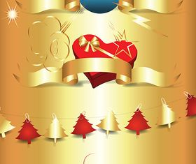 Golden Christmas Ornaments vector
