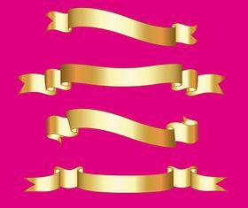 Golden Ribbon Banners vector design
