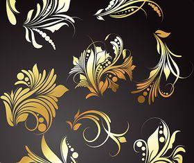 Golden Floral Elements vector