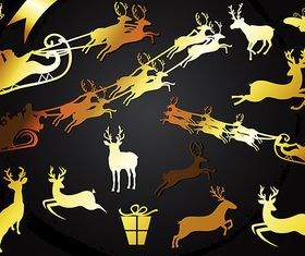 Golden Reindeer Shapes vector