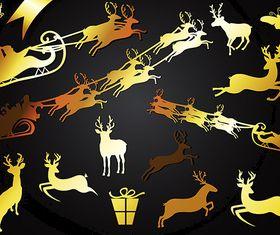 Golden Reindeer Shapes vector