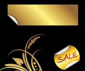 Golden Stickers and Floral Element vector
