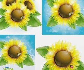 Bright sunflower and bees vector