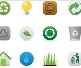 Cute Eco Style Icons vectors