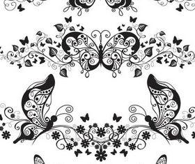 Stylish Butterflies Ornaments vectors graphics