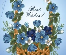 Blue flower greeting cards vector