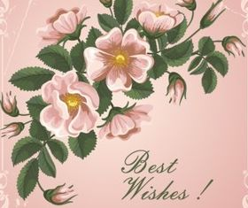 Pink flowers and cards vectors graphics