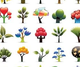 Creative cartoon trees vector