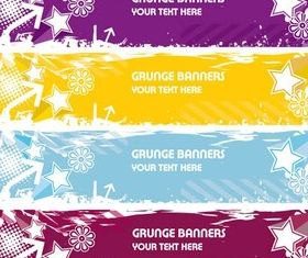 Grunge Star Banners set vector