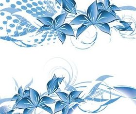 Blue Flowers Elements vector