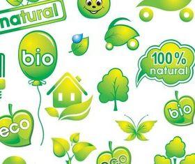 Green Vivid Eco Elements set vector