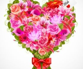 Delicate Valentine bouquet vector