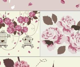 Bright rose decoration vector set