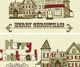 Christmas houses vector
