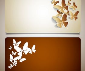Butterflies cards 02 set vector