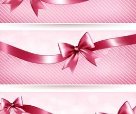 Pink Banners with Ribbons vector