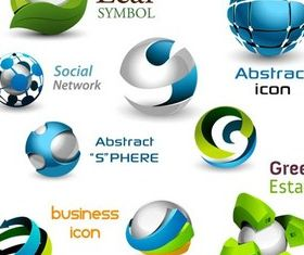 3D Spheres Icons shiny vector