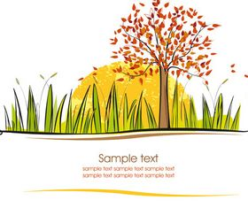 Autumn tree background 3 shiny vector