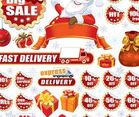 Christmas big sale tags 1 vector