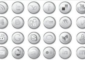 Silver Social Icons vector