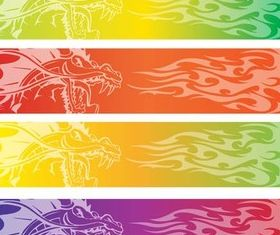 Color Banners with Dragon set vector