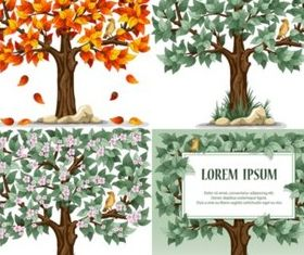 Bright trees and birds vector
