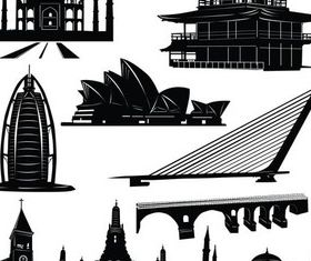 Famous Buildings Templates set vector