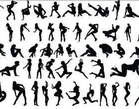 Silhouettes Dancing Girls vector