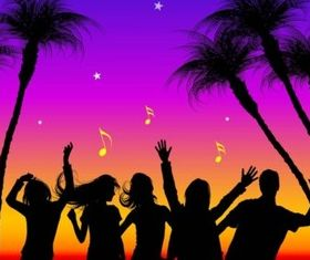 Party Silhouettes vector material